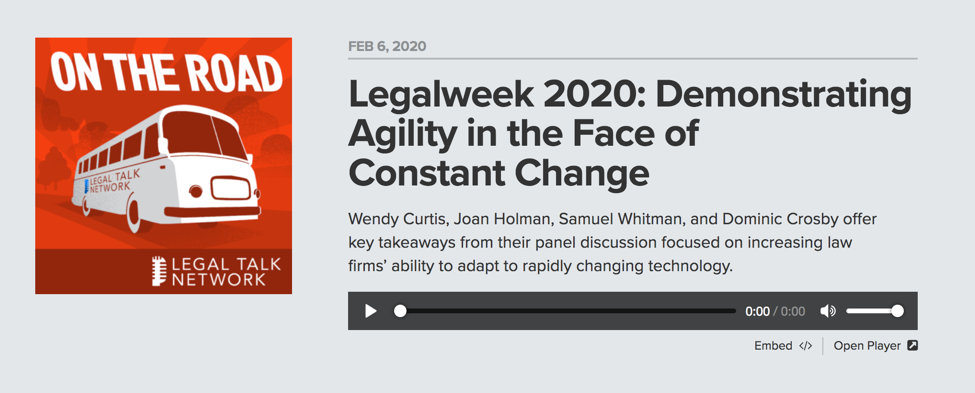 Legalweek podcast on the road